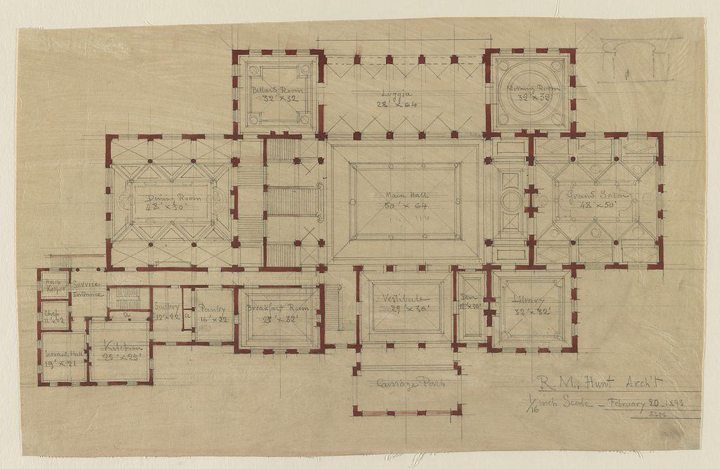 House The Breakers For Cornelius Vanderbilt Newport Rhode Island Plan Of Ground Floor 1024 667 The Breakers Cornelius Vanderbilt How To Plan
