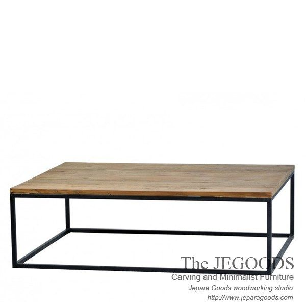 Rectangular Industrial Metal Wood Rustic Coffee Table Made by Jepara Goods Woodworking Studio Furniture Indonesia.  We produce and supply #rusticfurniture #industrialfurniture at affordable price by skilled #craftsman from Jepara, Central Java - Indonesia.