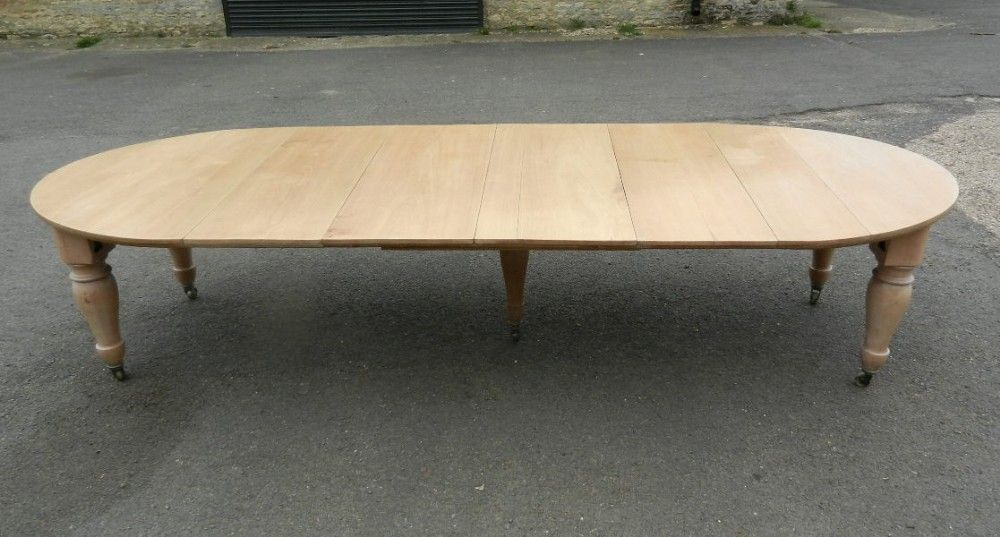 Large Victorian Farmhouse Table 19th Century Bleached Walnut Extending Dining