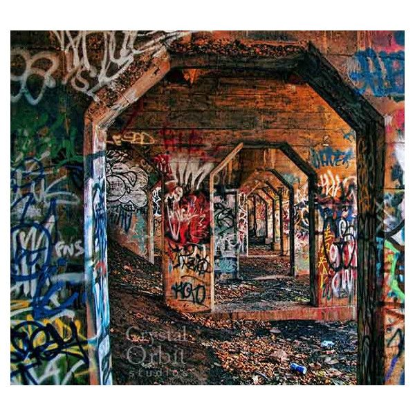 Graffiti Print, Urban Decor, Archways, Graffiti Art, Abandoned, Urban... ($34) ❤ liked on Polyvore featuring home, home decor, wall art, backgrounds, brown wall art, red home accessories, urban home decor, urban decay and blue home accessories