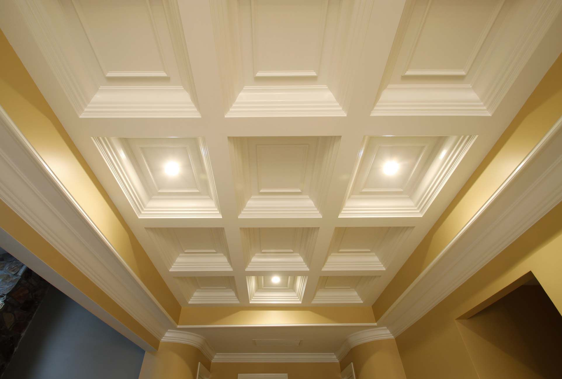 Coffered ceiling pictures or coffered ceiling designs with color white and yellow