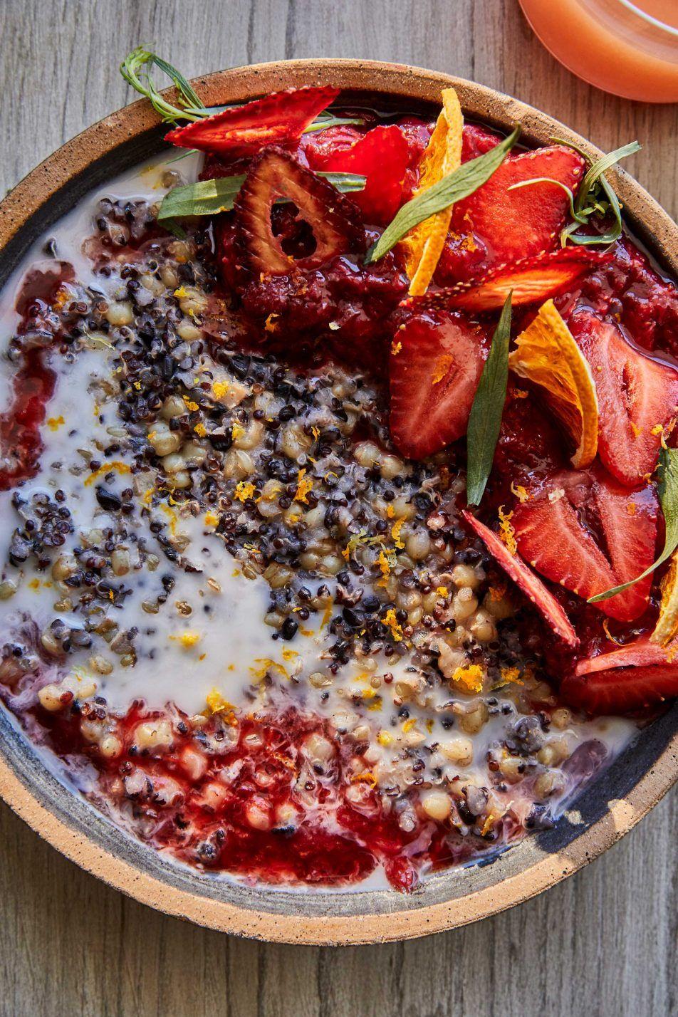 Three Grain Coconut Porridge With Wine Roasted Strawberry Compote