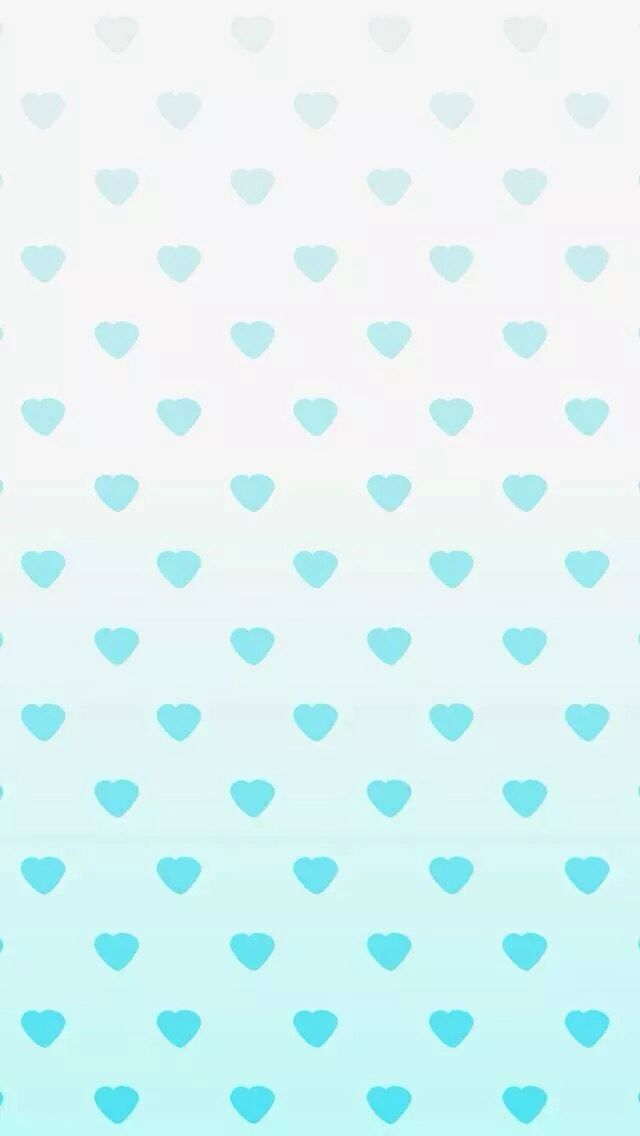 Mint aqua ombre watercolour mini hearts iphone phone Ombre aqua wallpaper