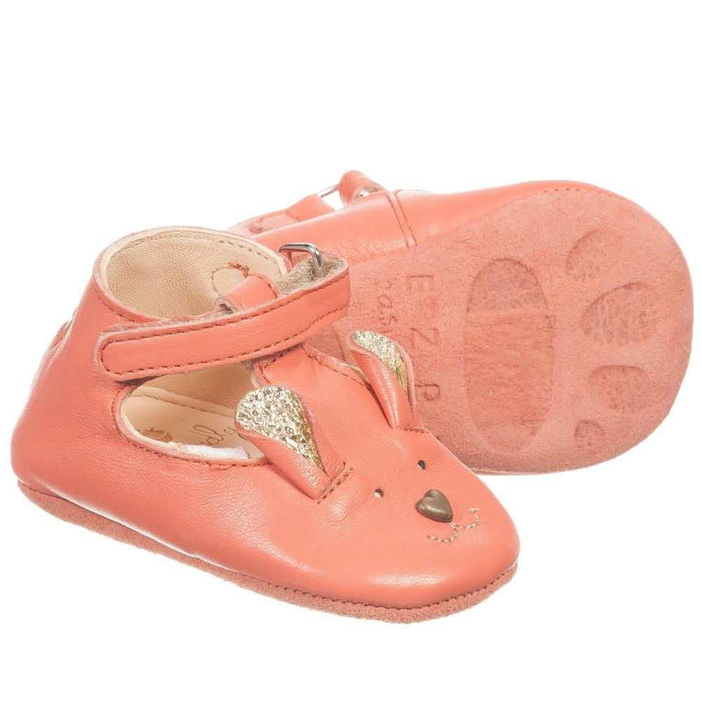 6893bbc9581a3 Easy Peasy - Girls Pink Leather Bear 'Loulou' Pre-Walker Shoes |  Childrensalon