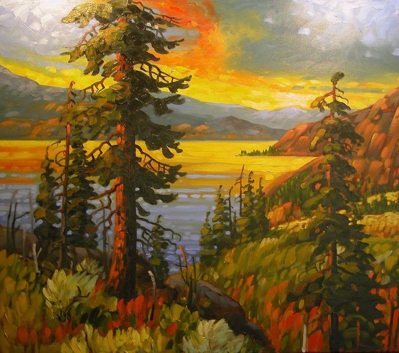 Contemporary Okanagan Lake by Rod Charlesworth Photos - New lake painting Amazing