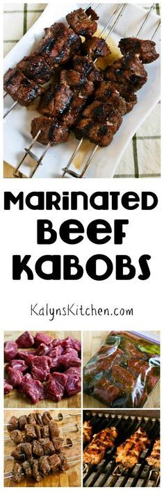 Marinated Beef Kabobs are a tasty dinner from the grill that's low-carb, gluten-free, South Beach Diet friendly, and they can even be Paleo if you choose the right ingredients. And this will be a hit with the whole family! [found on http://KalynsKitchen.com]