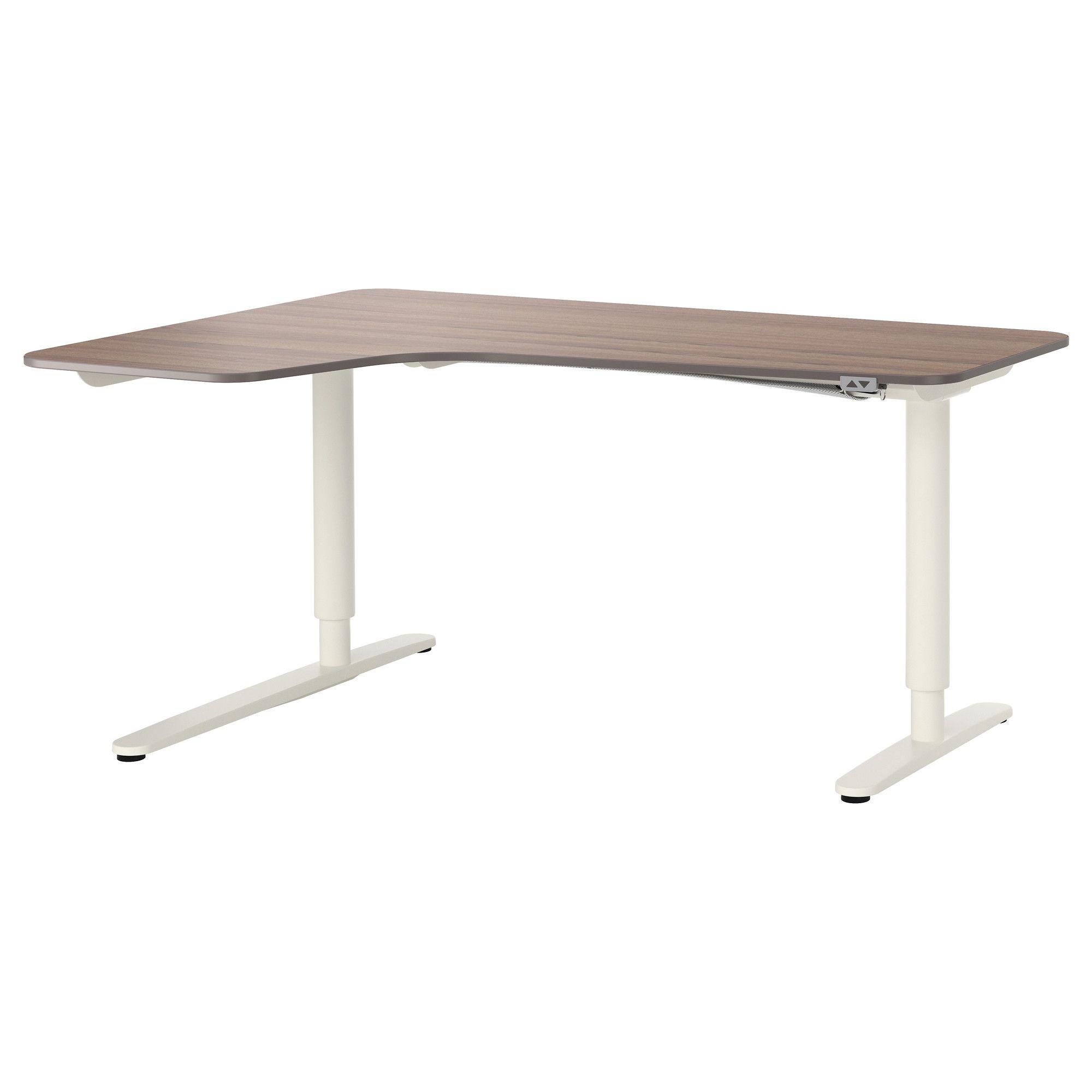 Ikea Bekant Corner Desk Left Sit Stand Gray White
