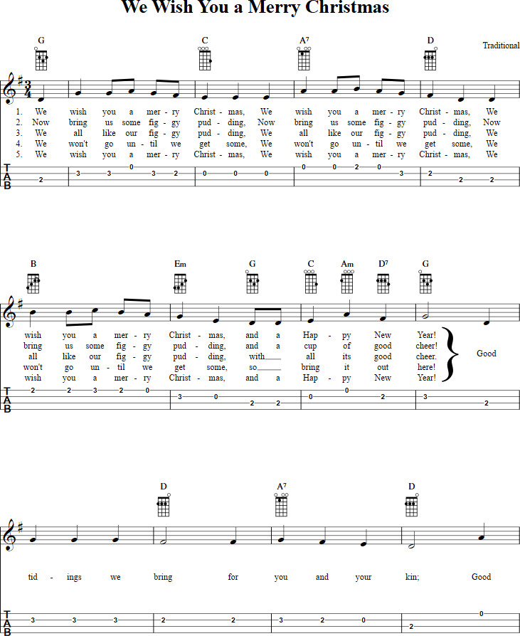 We Wish You A Merry Christmas Ukulele Tab Page 1 View The Whole