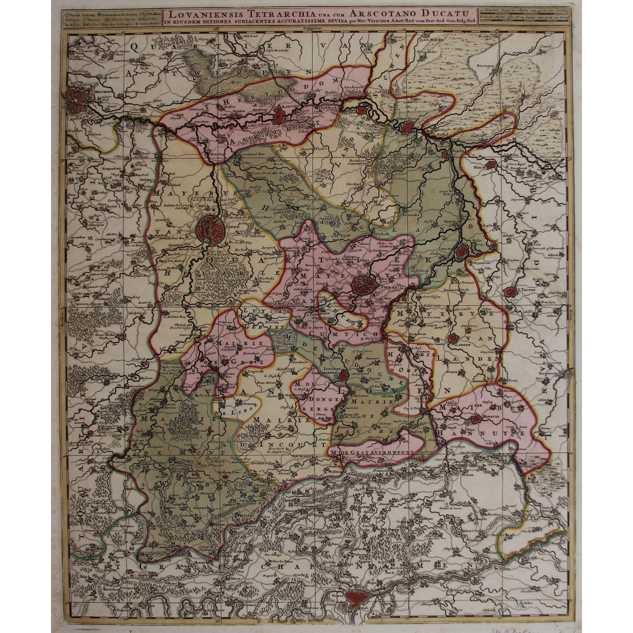 17th century antique map of then vicinity of leuven and aarschot