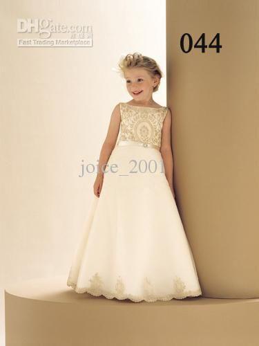 99b6fd686a6 Wholesale Custom made embroideried satin flower girl dress junoir  bridesmaid dress children s dresses F