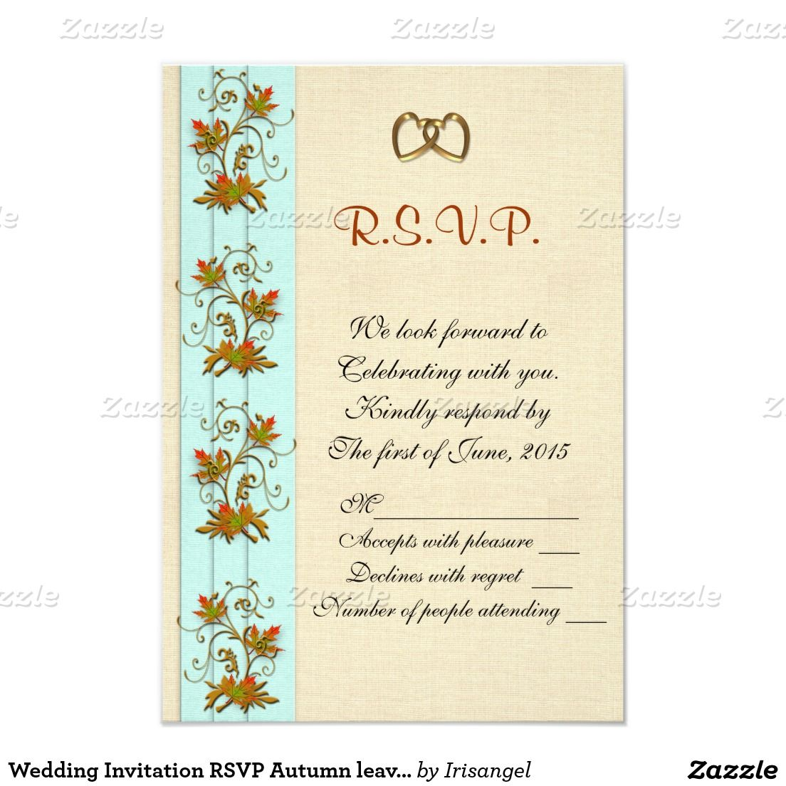 Wedding Invitation Rsvp Autumn Leaves 3 5 X 5 Invitation Card