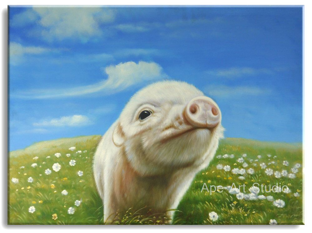Cowboy Pig - oil painting, large oil painting, animal painting hand painted on canvas by Ape Art Studio by ApeArtStudio on Etsy https://www.etsy.com/listing/216334406/cowboy-pig-oil-painting-large-oil