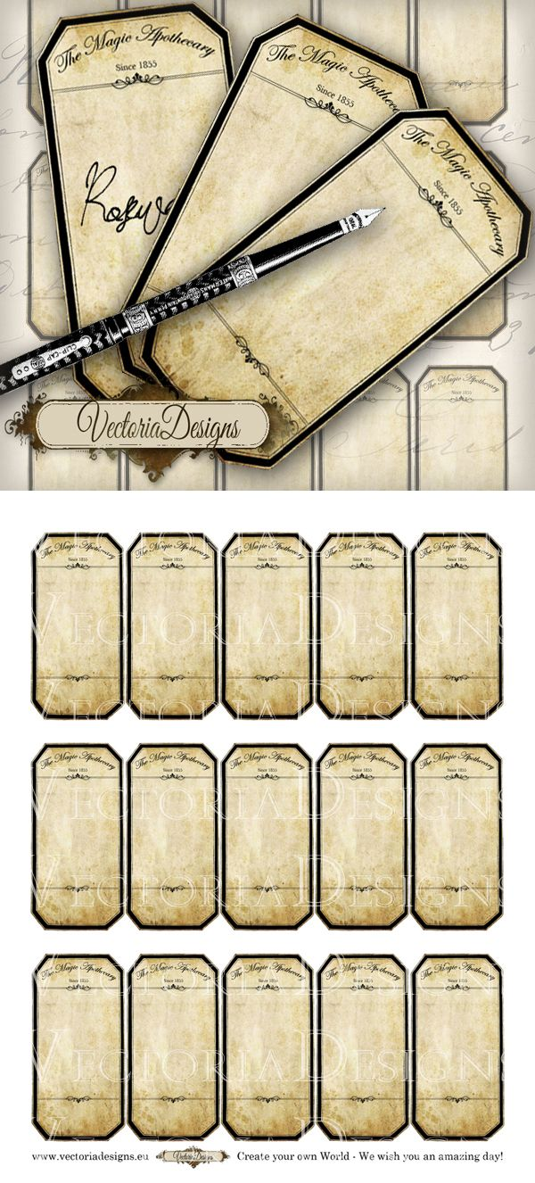 Printable Blank Apothecary Labels By Vectoriadesigns Deviantart Com On Deviantart Apothecary Labels Printable Labels Potion Labels