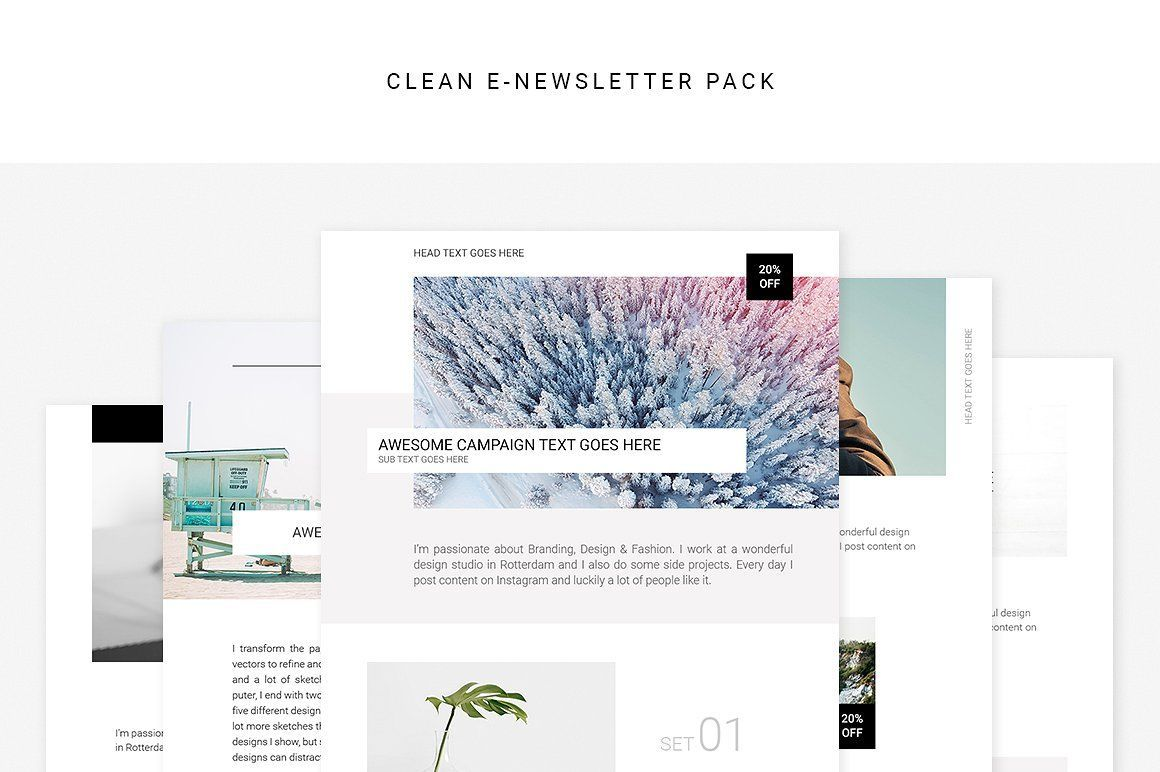 Clean Email Newsletter Design Pack A Set Of Email Templates To