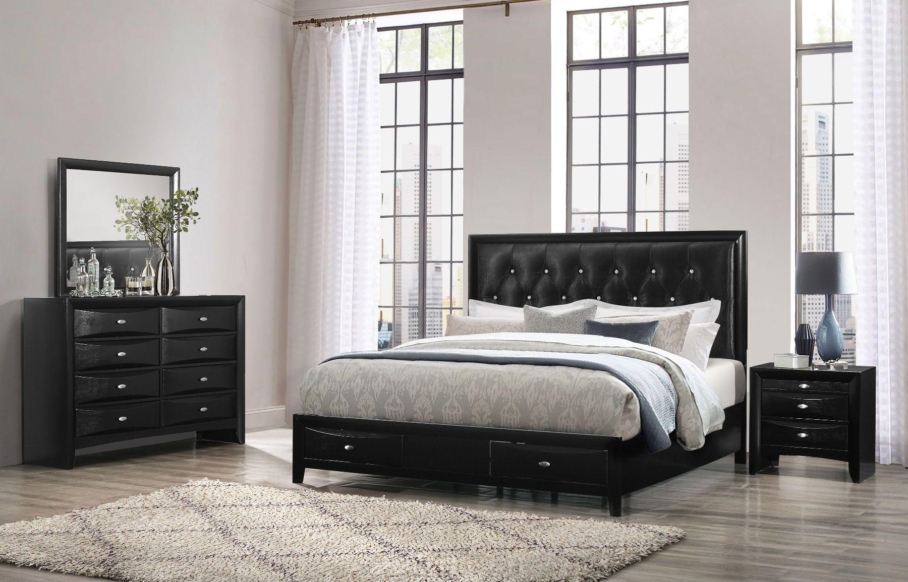 Salerno Black King Size Bed Salerno Linda Global Furniture Usa King Size Beds In 2020 Black Bedroom Furniture Set Full Bedroom Furniture Sets Black Bedroom Furniture