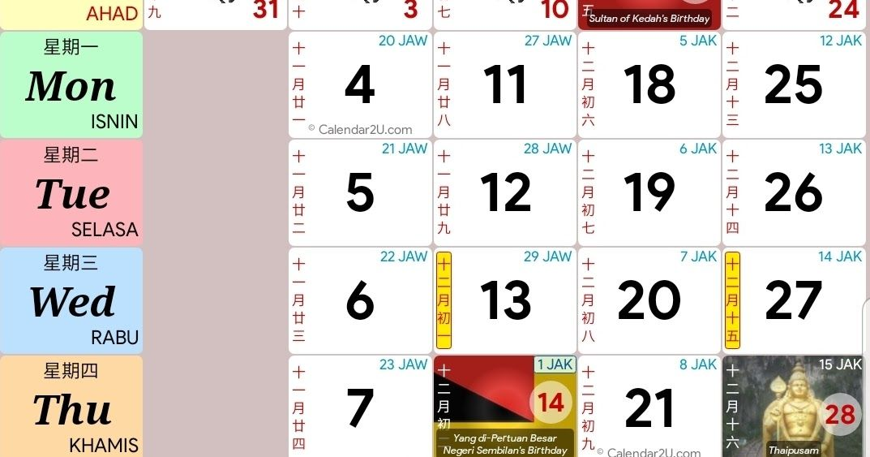 Kalender Mei 2021 Malaysia : Calendar 2021 malaysia ...