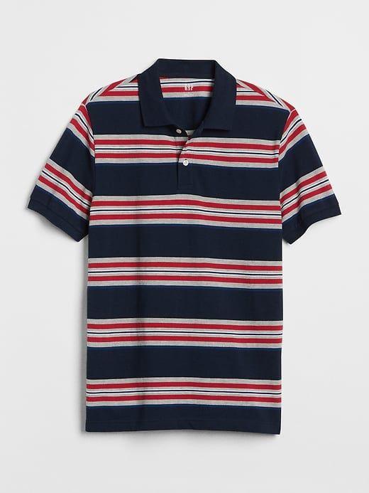 bd7deaa4 Gap Mens Mix-Stripe Pique Polo Shirt In Stretch Modern Red ...