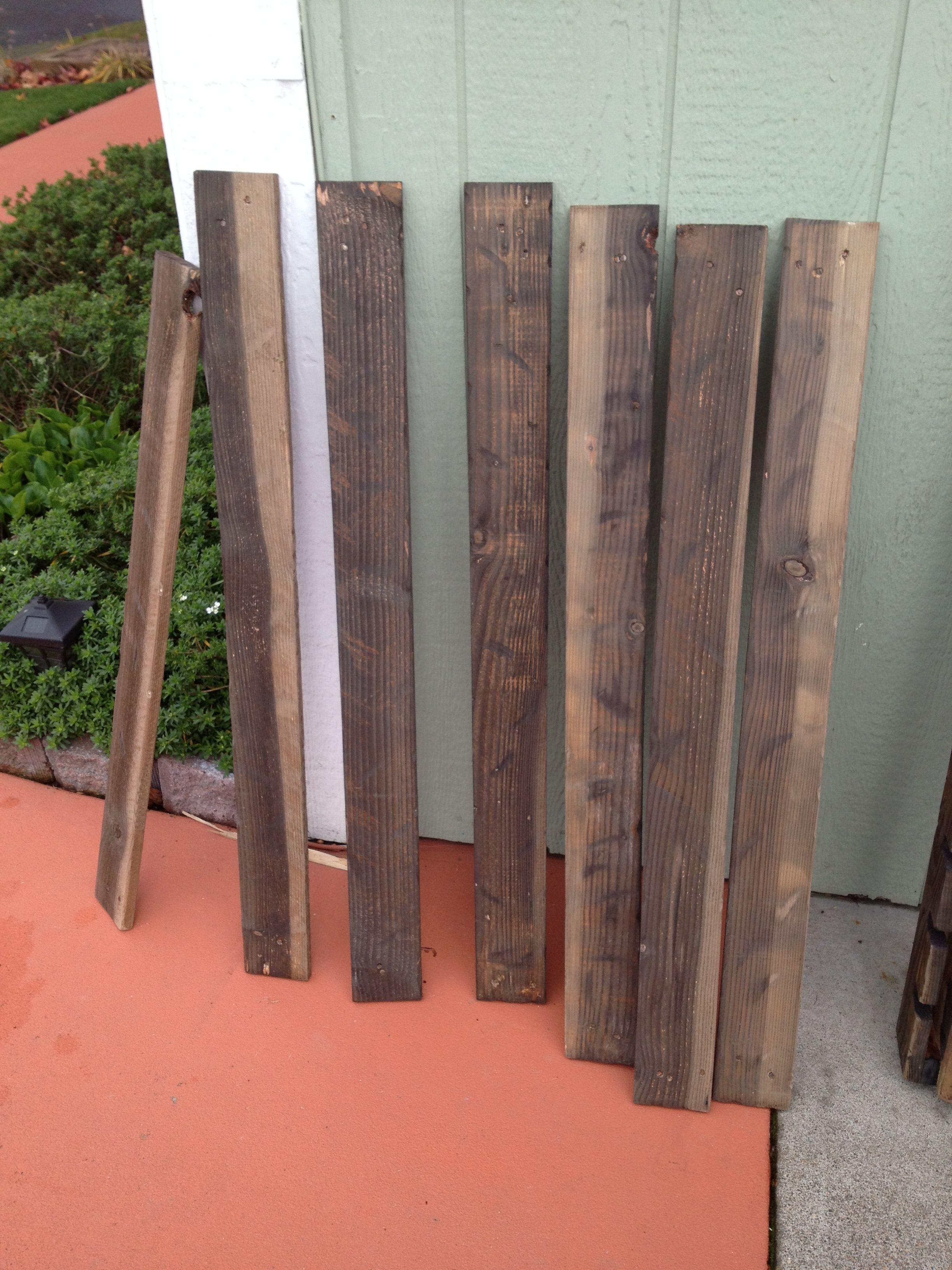 Boards stained with vinegar and steel wool | Stain ...