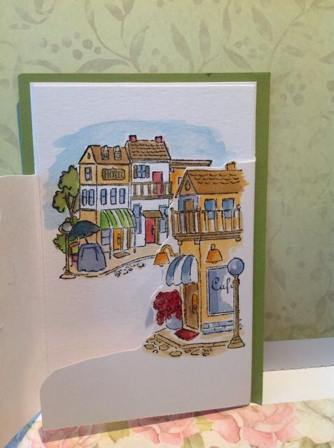 Watercolored village Art Impressions stamps opened