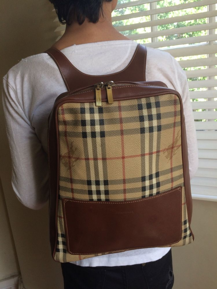 991002b9ea8 Vintage Burberry Backpack. Monogram And Leather. Authentic. Fits iPad.