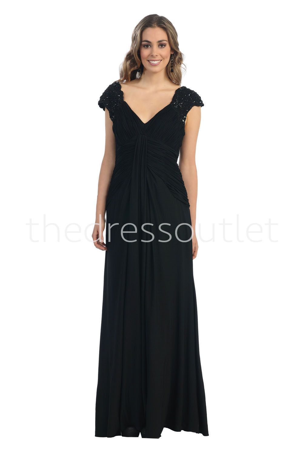 Modest plus size long formal mother of the bride black dress sale