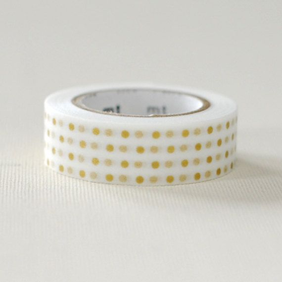 Japanese Washi Masking Tape / Small Gold Polka Dots for scrapbooking, packaging, party deco, card making