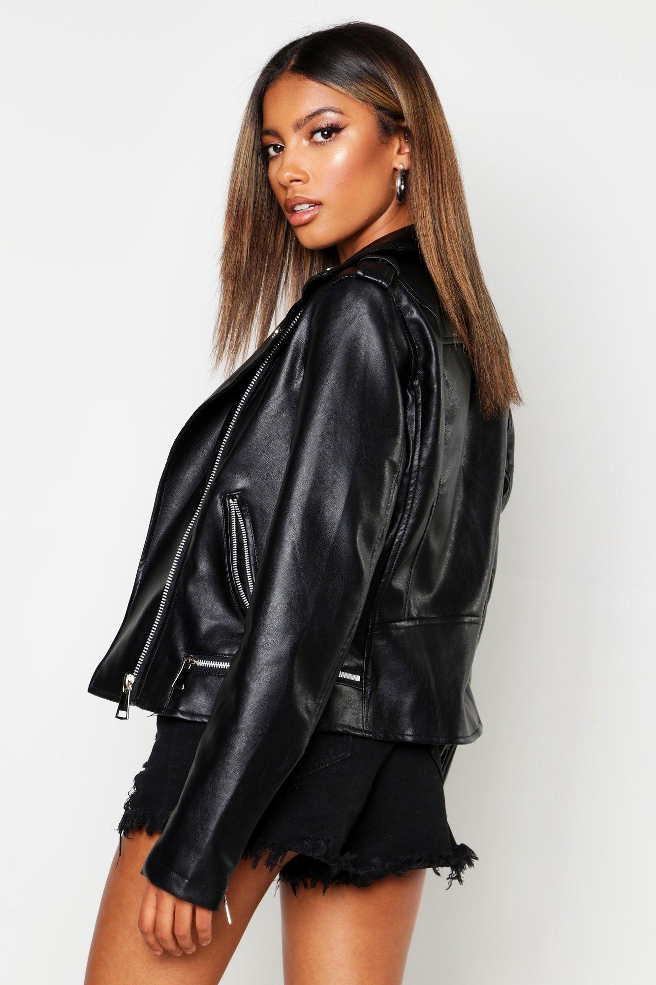 Zip Detail Faux Leather Biker Jacket Boohoo Fashion