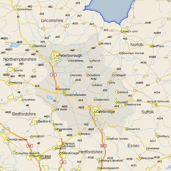 Cambridgeshire County Map