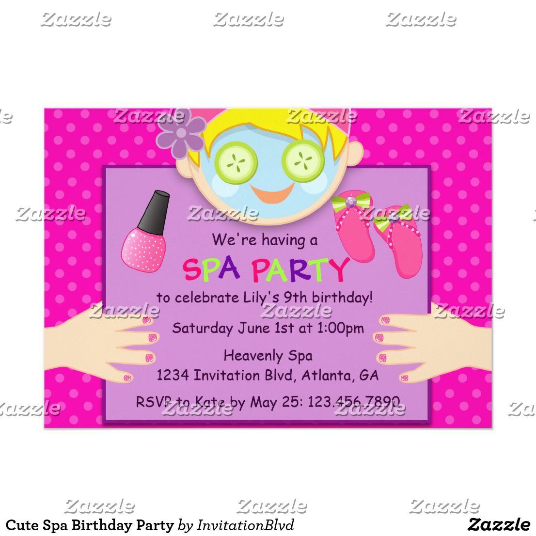 Cute Spa Birthday Party Invitation Spa Birthday Parties Spa