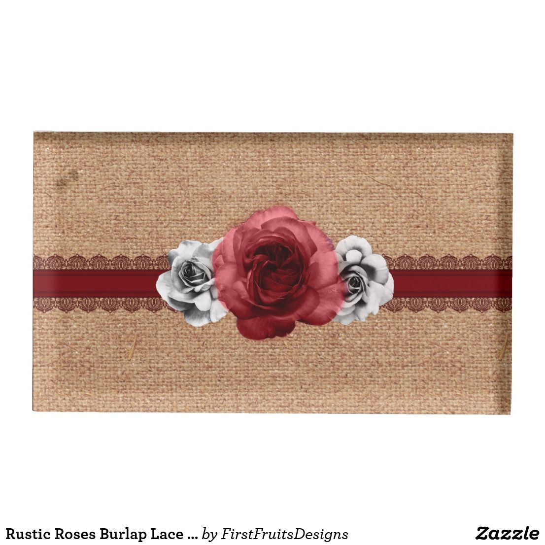 Rustic Roses Burlap Lace Wedding Table Card Holder This Save The