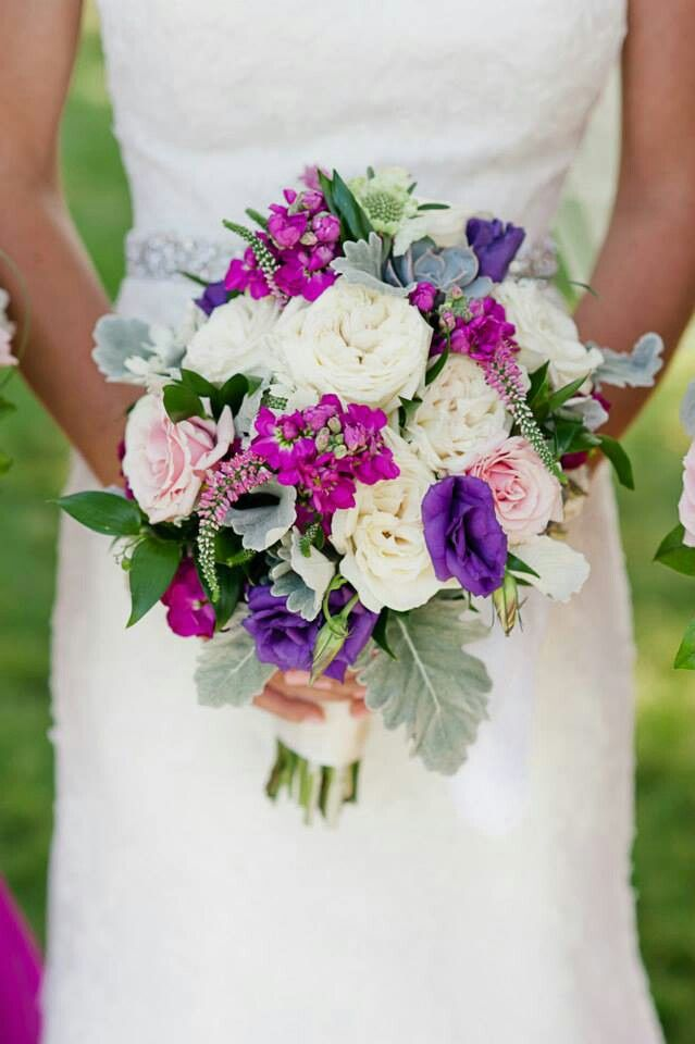 Vibrant Wedding Bouquet In Bright Purple White And Pink Flowers