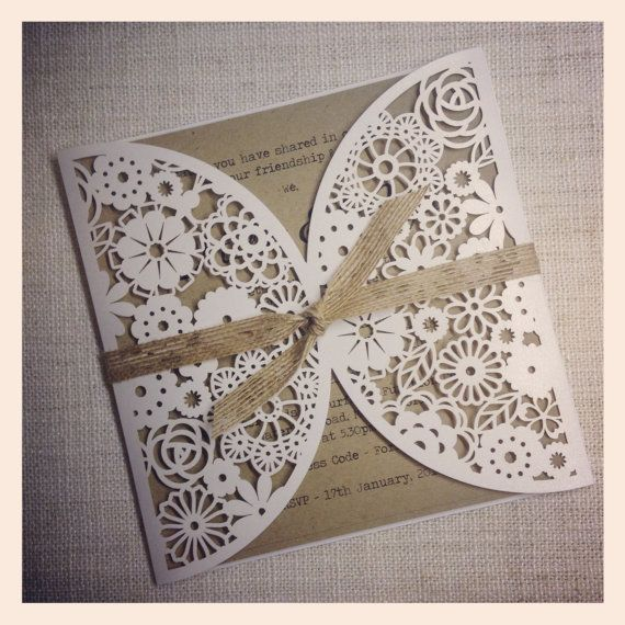 Rustic Wedding Invitation Laser Cut by StunningStationery on Etsy