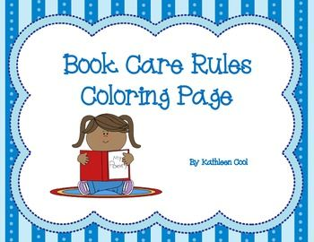 Book Care Rules Coloring Page Free Book Care Library Skills Library Activities