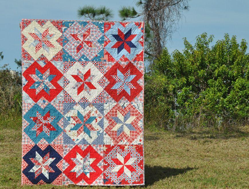 Warden's Cross Free Quilt Tutorial #rileyblakedesigns #starsandstripes #cuttingcorners