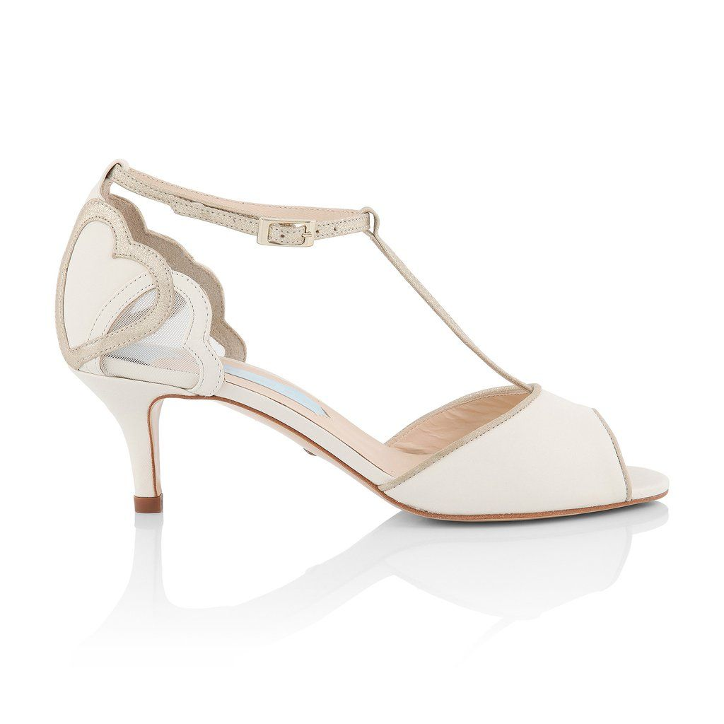 9bf87595c Ivory & Champagne Handmade Wedding Bridal Shoes 'Ameli' | Charlotte Mills  Stunning vintage inspired low heel T-bar from Charlotte's signature  collection.