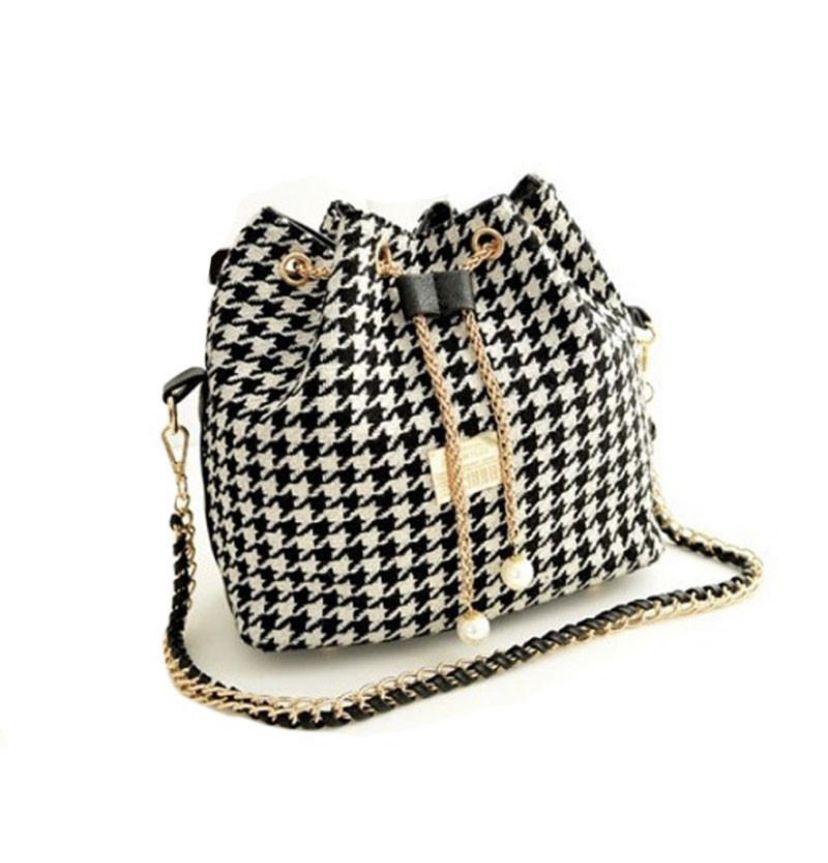 3504c5b6ff1a Sassy Houndstooth Satchel Handbag
