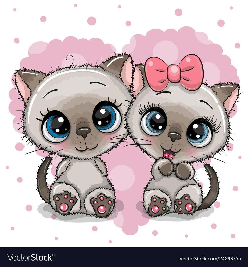 Two Cute Kittens On A Heart Background Royalty Free Vector Kitten Cartoon Cute Drawings Cute Cartoon