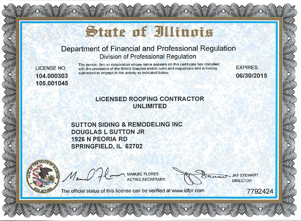 It Is Required To Be Licensed To Roof In The State Of Illinois