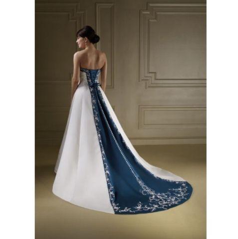 The Bride Ideal Navy Blue Wedding Dress White Strapless Wedding Dress Blue Wedding Dresses