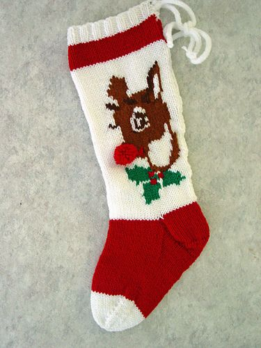 Rudolph Stocking | Christmas stocking pattern, Knitted ...