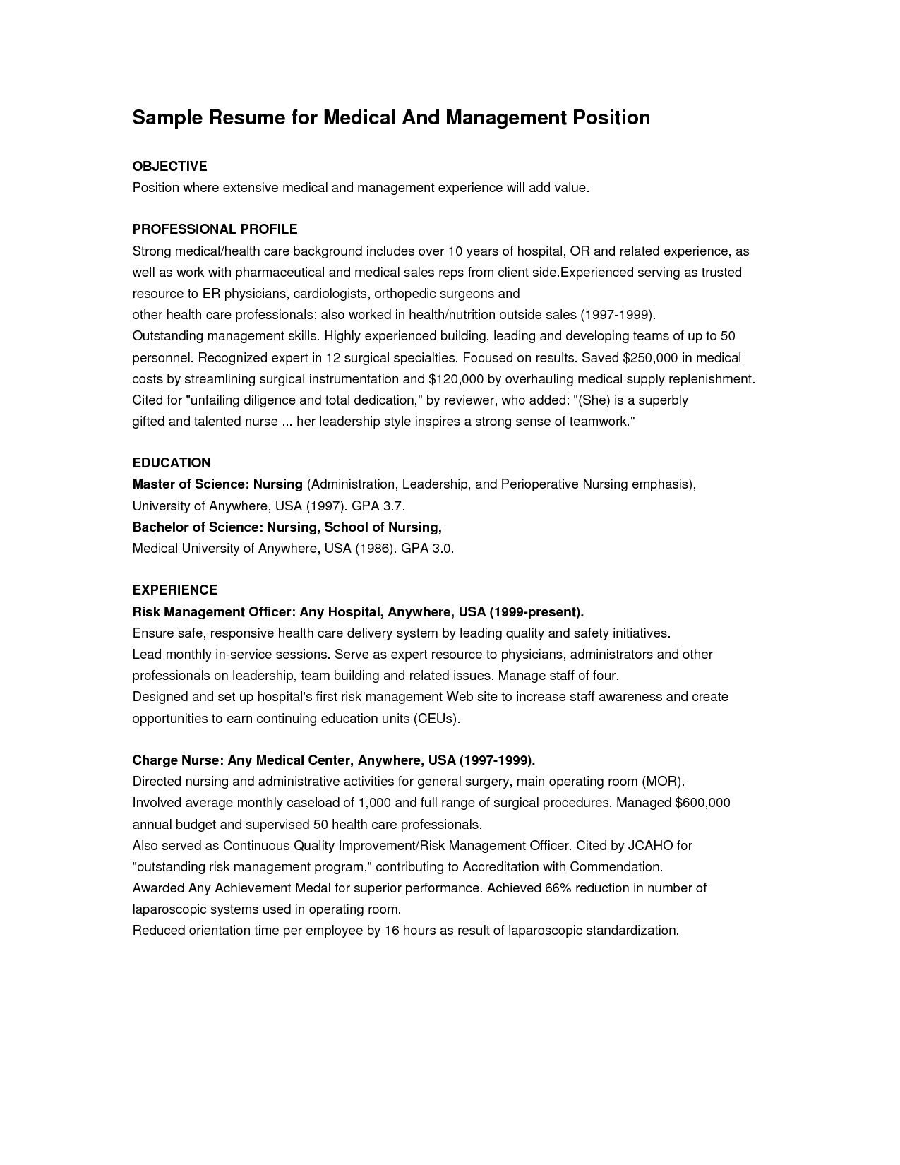 Sample Resume For Management Position  Resume Sample