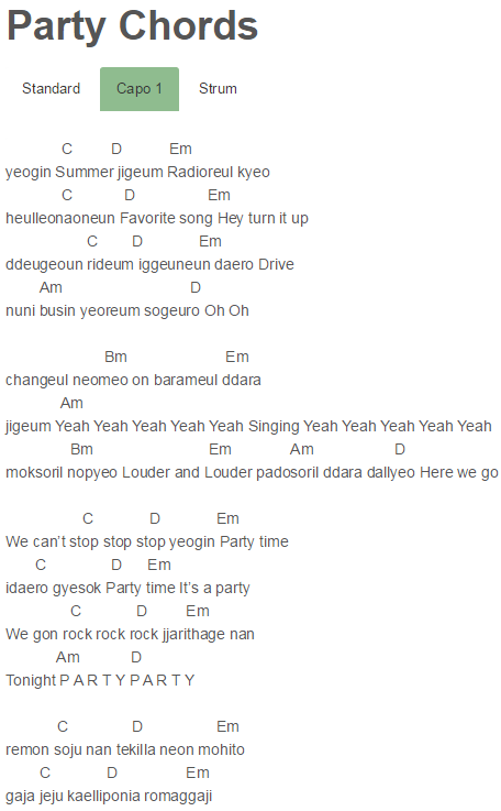 Party Chords Girls' Generation