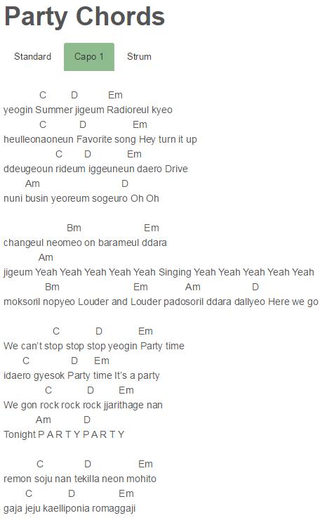 Party Chords Girls\' Generation | Chords | Pinterest | Girls ...