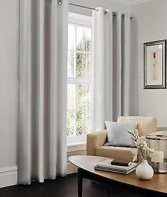 Silver Light Grey Faux Silk Lined Ready Made Eyelet Curtains 90 X 90