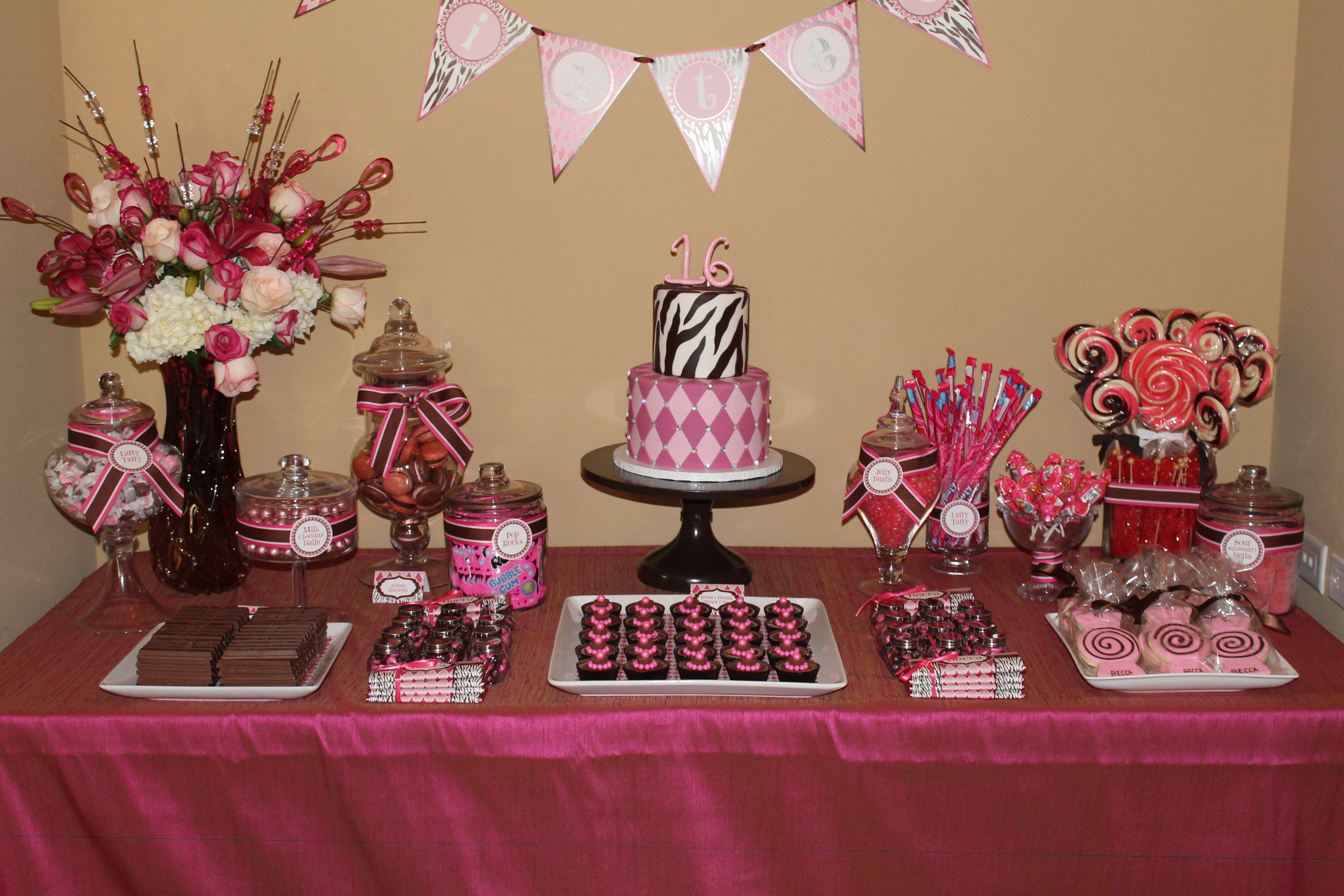 Candy buffet ideas for sweet sixteen - Sweet Sixteen Candy Bar Sweet 16 Pink Brown Dessert Table Debbie Kennedy Events