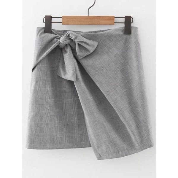 Grey Plaid Knotted Asymmetrical Skirt ($28) ❤ liked on Polyvore featuring skirts, knot skirt, a line plaid skirt, knee length a line skirt, a-line skirt and plaid skirt