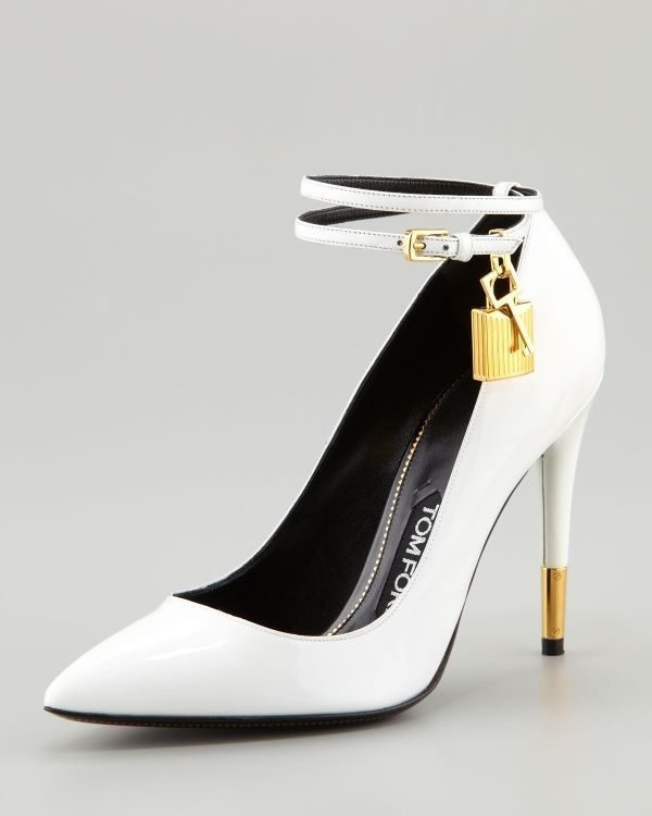 cb98accbb182 Tom Ford  white ankle strap  stiletto with  padlock