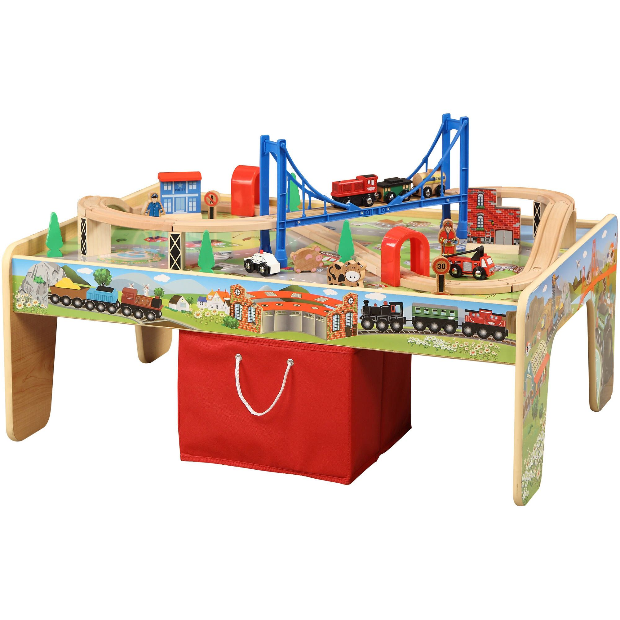Wonderful 100 Piece Mountain Train Set And Wooden Activity Table   Walmart.com
