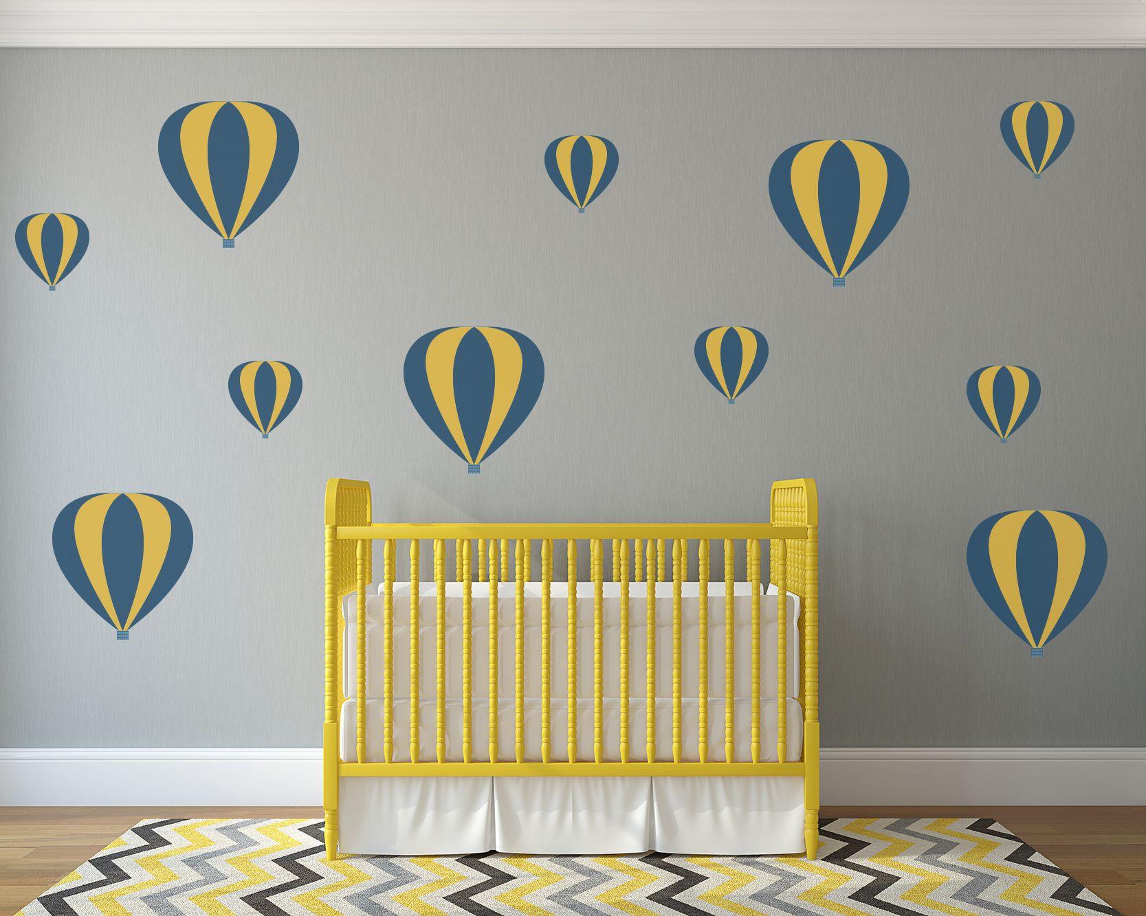 Striped Hot Air Balloons Nursery Wall Art - Vinyl Wall Decals For ...