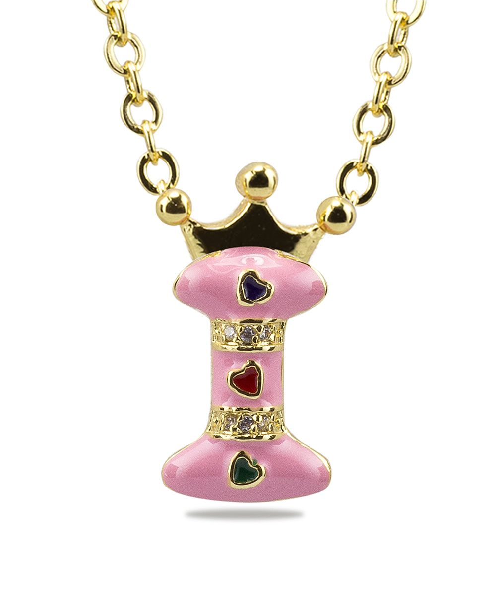 Gold u pink crowned uiu pendant necklace products